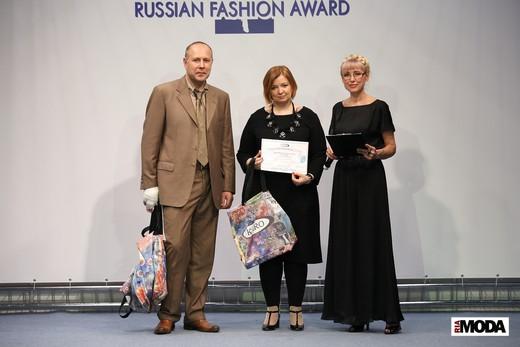 Ольга Беляева, дизайнер торговой марки Appledress (в центре). Фотография Натальи Бухониной, ИА «РИА Мода»