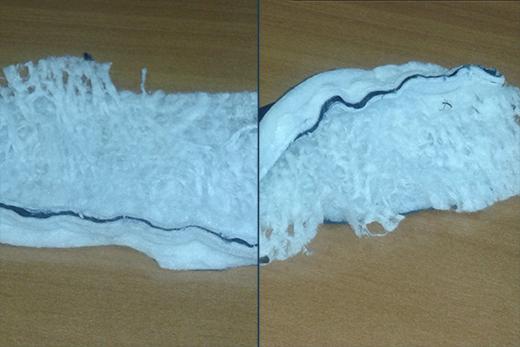 Образцы утеплителя до и после 5-тикратной стирки. Фотография предоставлена компанией «Термопол»